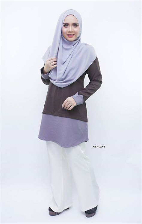 Baju Blouse Ch774447 Button Tunik Dusty blouse muslimah moden tulip saeeda collections