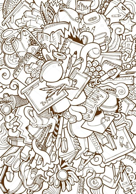 doodle stationery school supplies and stationery doodle collage stock