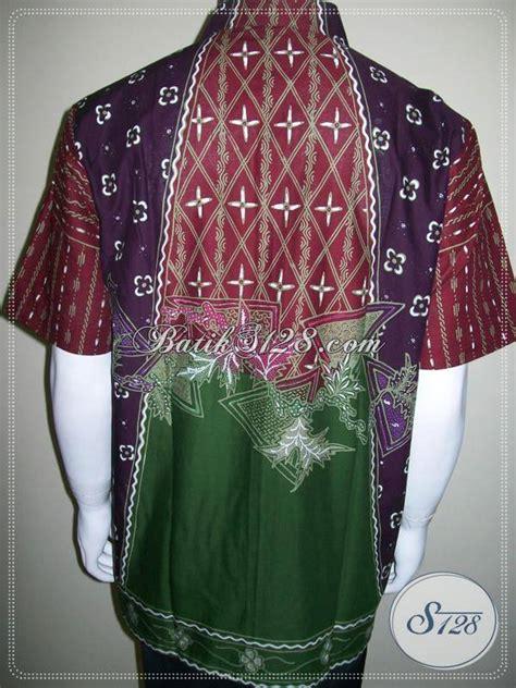Kemeja Batik Sogan Milo kemeja batik warna warni merah ungu hijau batik tulis motif matahari ld295t l toko batik