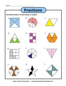 fraction shapes shaded worksheet identifying fractions