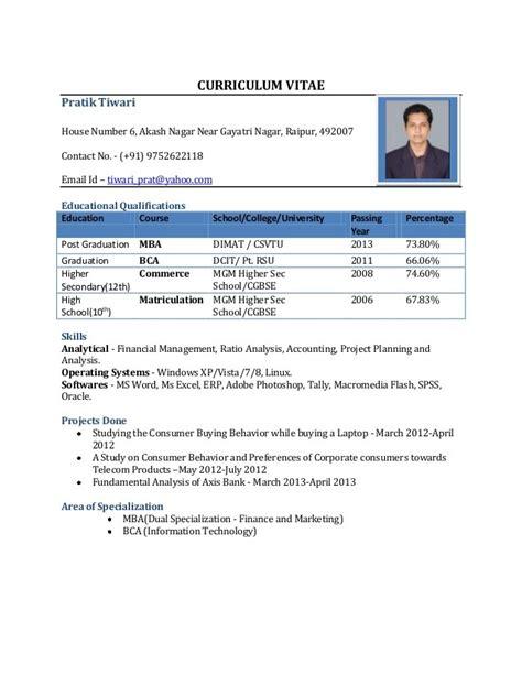 Doc Resume Format For Freshers Resume Format