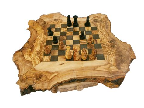 wooden chess set christmas gift sale unique olive wood natural edges chess