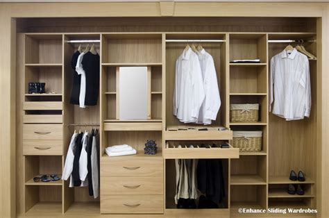 oak interiors hanging shelves drawers walkin closet