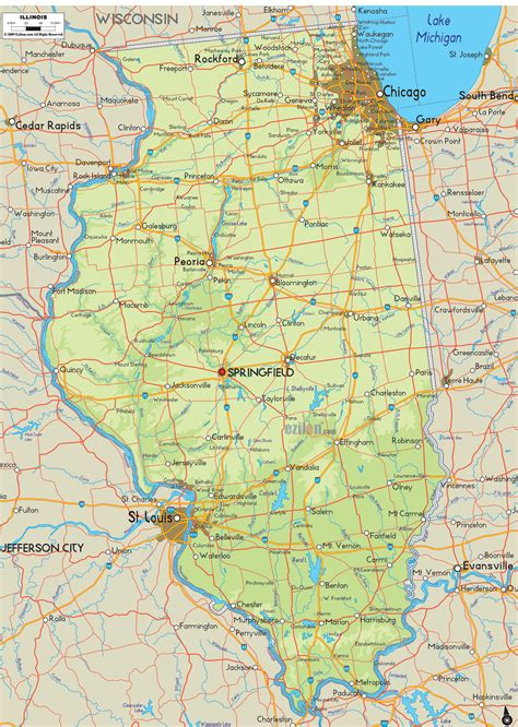 il map physical map of illinois ezilon maps