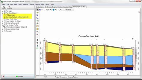 stratigraphic cross section obs 8 rockworks borehole manager stratigraphy