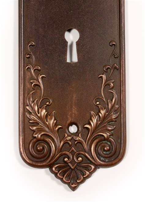Antique Door Knob Backplates by Antique Bronze P F Corbin Lorraine Door Knob Set