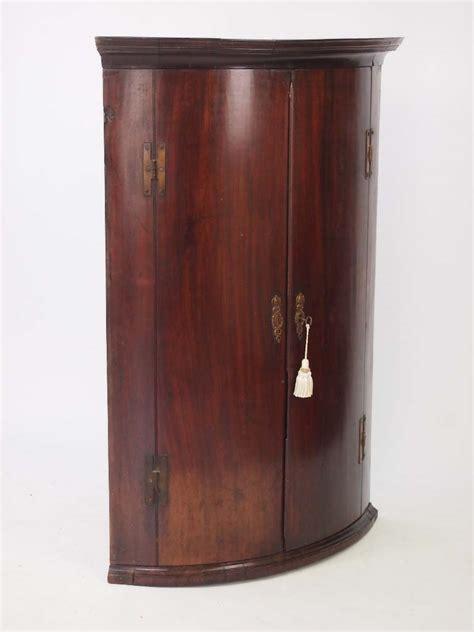 Mahogany Cupboard - antique georgian bow fronted mahogany corner cupboard