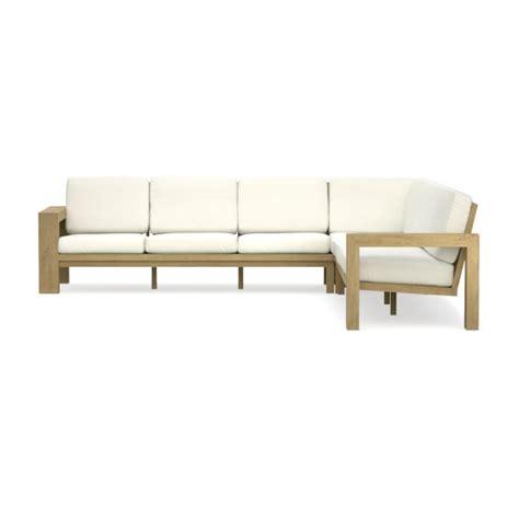 teak sectional larnaca outdoor 3 piece teak sofa sectional williams sonoma