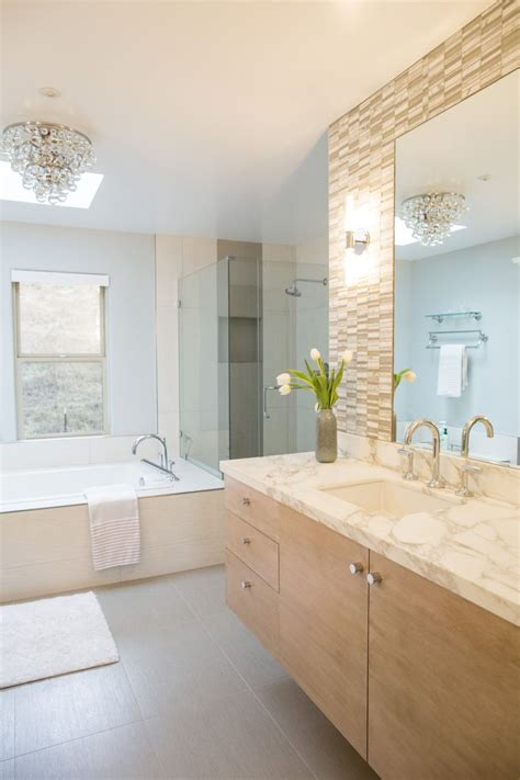 white oak vanity with calacatta marble top glass and