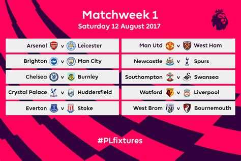 epl table epl premier league fixtures for 2017 18 released