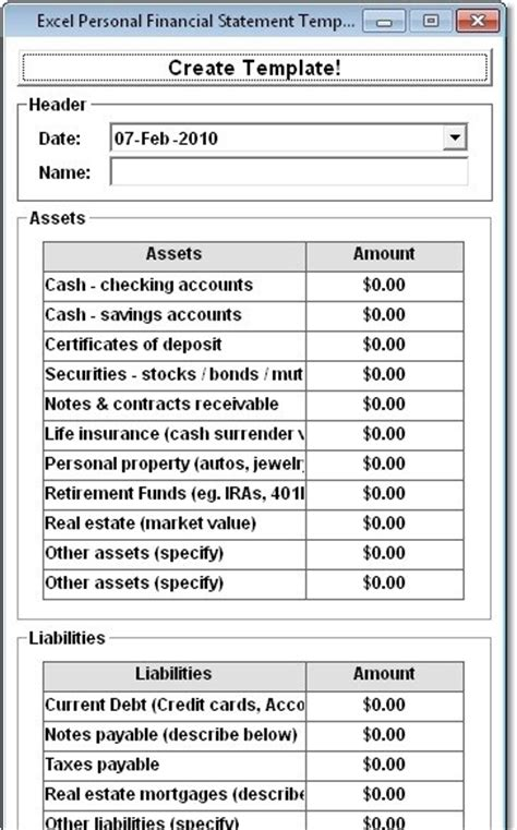 Blank Financial Statement Form Windows Financial Statement Microsoft Excel Personal Financial Statement Template