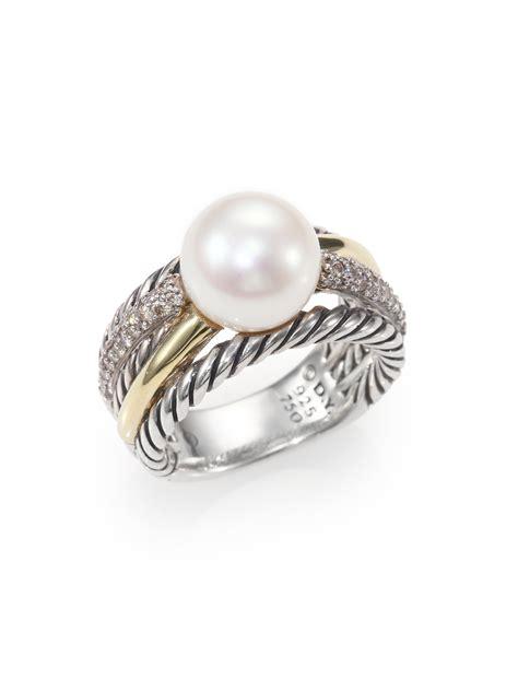 david yurman pearl 18k gold sterling silver ring