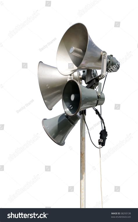 Address Lookup Pa Pa Address System Speakers Isolated On A White Background Stock Photo