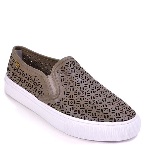 perforated slip on sneaker burch perforated slip on sneaker in blue lyst