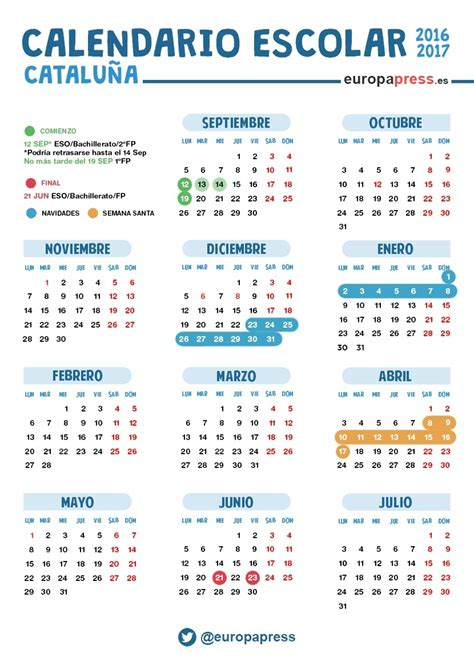 Calendario Barcelona 2016 2017 Calendario Escolar 2016 2017 En Catalunya Navidad Semana