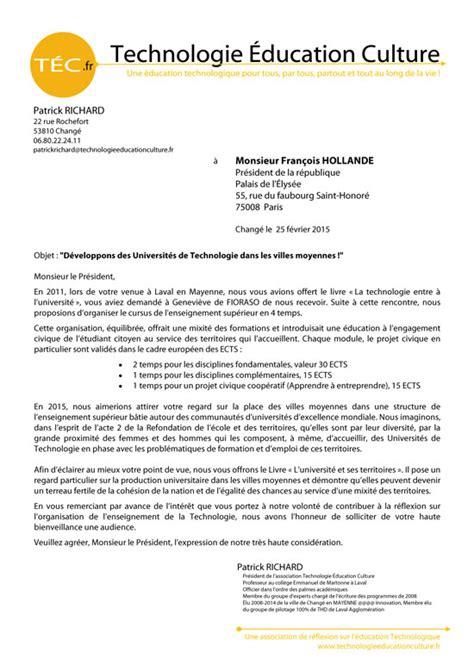 lettre au president de la republique demande d audience a l