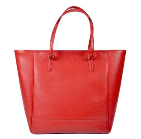 monogrammed saffiano leather tote bag  red  black