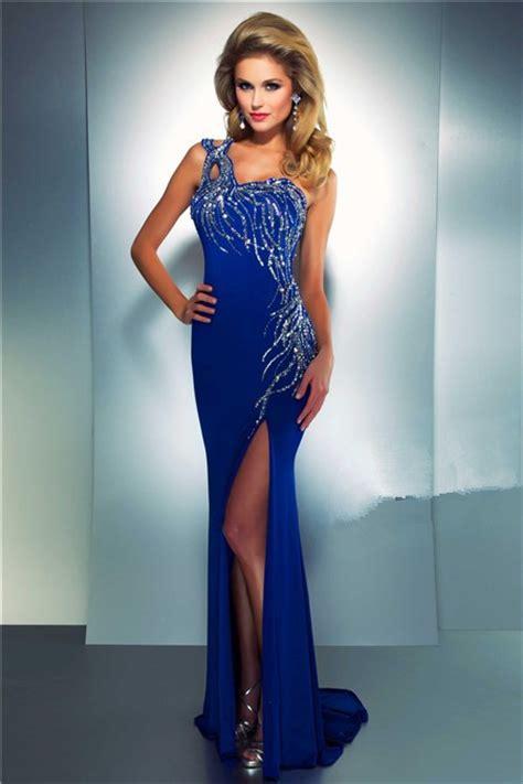 blue beaded dress sheath one shoulder royal blue chiffon beaded sequin