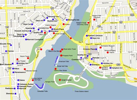 map usa niagara falls map of hotels in niagara falls canada