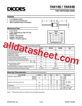 1n4448 datasheet pdf diodes incorporated