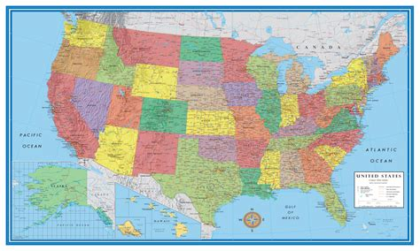usa state maps classic elite united states wall map poster