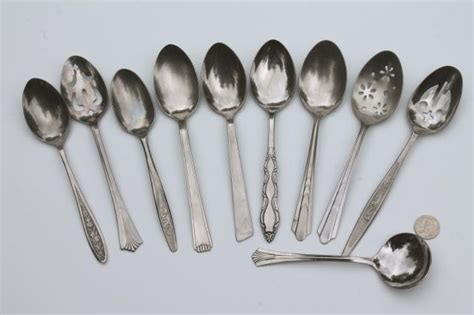 Kitchen Furniture Price Mismatched Vintage Flatware Lot Of Serving Spoons