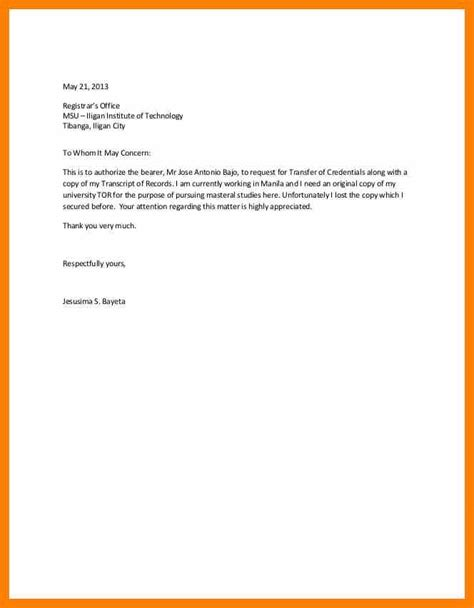 exle of authorization letter for transcript exle of authorization letter gallery resume