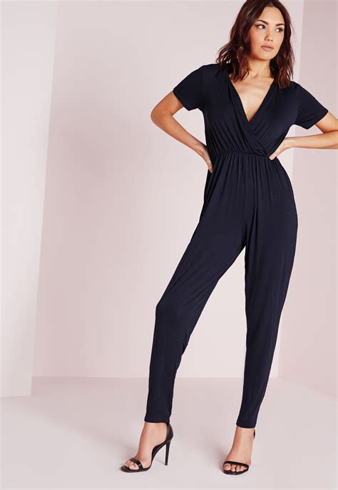 Yumico 3 In 1 Jumpsuit missguided jersey sleeve wrap jumpsuit navy in blue lyst