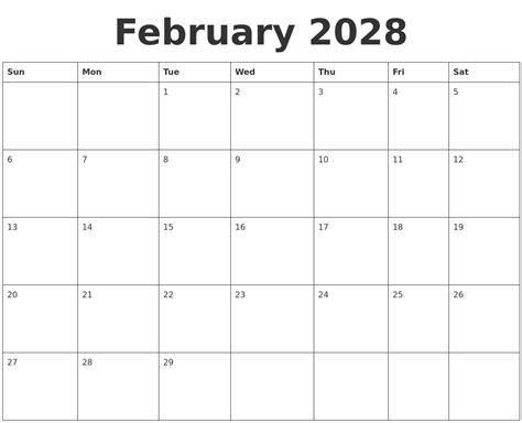 February 2028 Blank Calendar Template