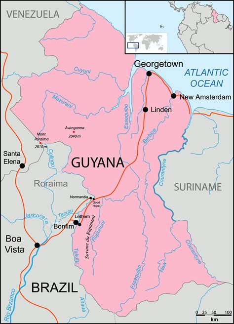 where is guyana on the world map maps of guyana map library maps of the world