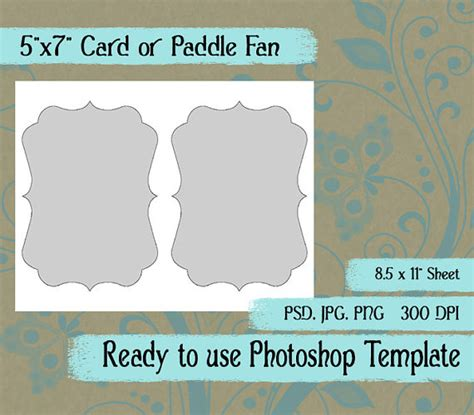 Card Fan Template by Scrapbook Digital Collage Photoshop Template A7 Card Paddle