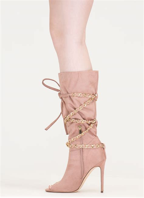 new chain ge faux suede boots mauve taupe black