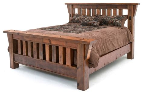 mission bed barnwood mission bed queen rustic panel beds by