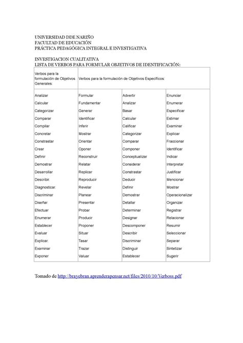 preguntas de investigacion verbos calam 233 o material de apoyo lista de verbos usados para
