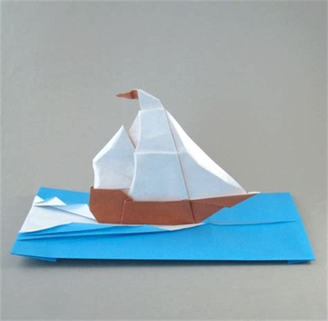 Origami Sailing Boat - origami sailing ship and waves by francesco miglionico
