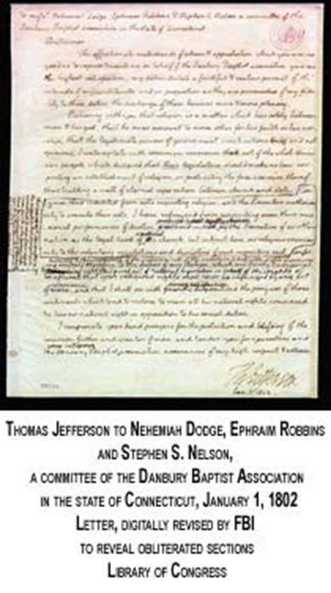 Explanation Of Jefferson S Letter To The Danbury Baptists Pin By Khandace Collins On History