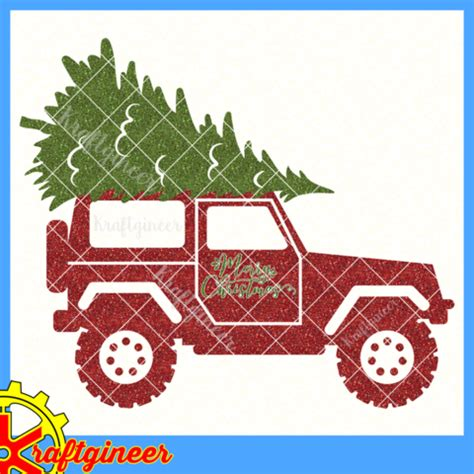 christmas jeep clip art kraftgineer studio svg files kits cricut explore and