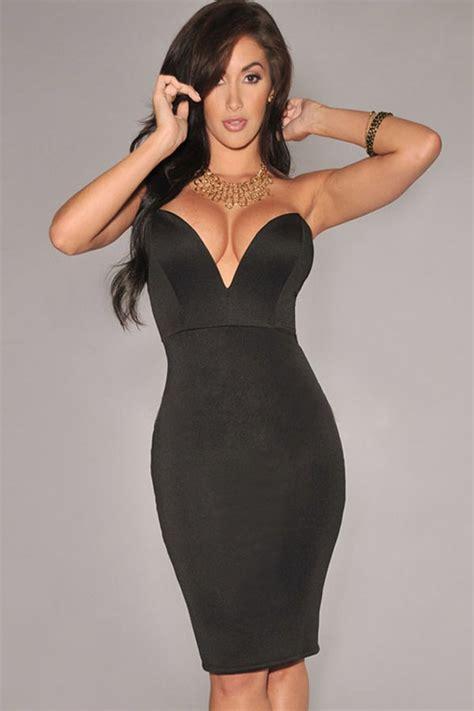black strapless sexy bodycon party dress   sexy