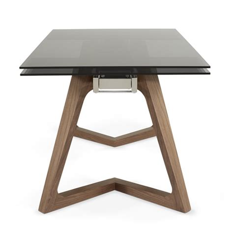 Glass Extendable Dining Table Abena Extendable Glass Dining Table In Smoked With Walnut