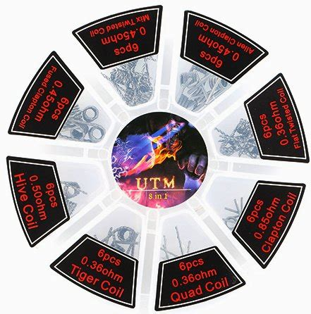 Murah 8 In 1 Prebuilt Coil Set A K A Killer Clapton Fused Ali kanthal prebuilt coil set 48pcs