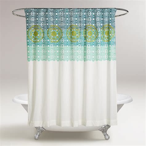 blue green shower curtain blue and green iris embroidered shower curtain world market