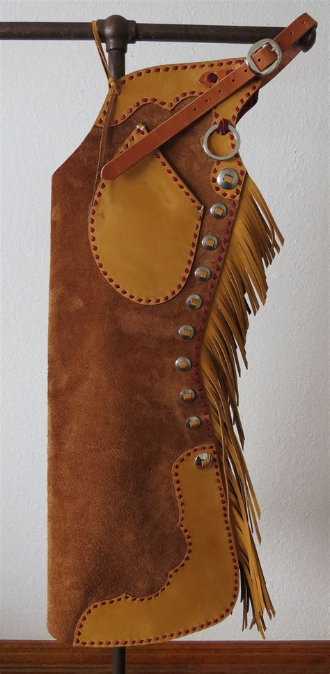 Handmade Cowboy Chaps - new handmade grumpy cowboy buckstitched brown gold