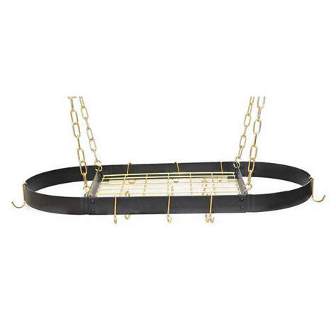 Black Hanging Pot Rack pot racks 37 1 2 hanging medium oval pot rack in black with brass grid and hooks