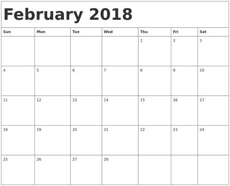 Calendar February 2018 Template february 2018 calendar template