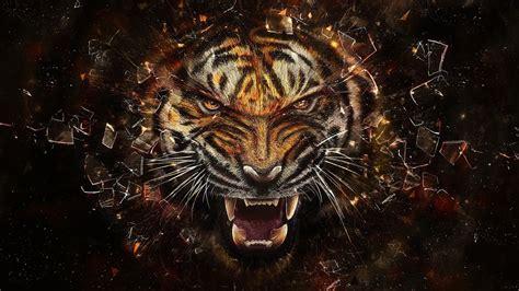 abstract tiger wallpaper fantasy wildlife abstract animal creative design art hd