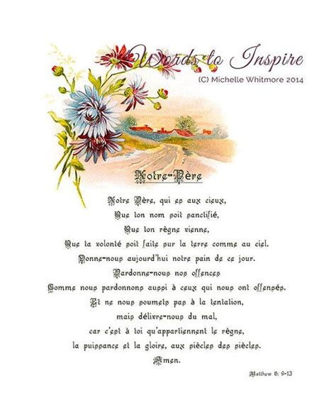 printable version of lord s prayer the lord s prayer french version matthew 6 9 13