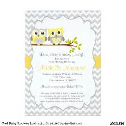 owl baby shower invitation 5 quot x 7 quot invitation card yellow gray chevron stripes baby