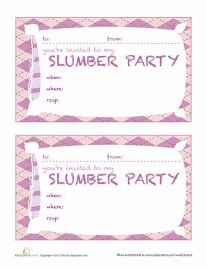 printable birthday invitations sleepover slumber party invitations worksheet education com