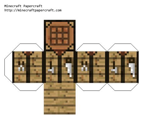 minecraft coloring pages foldable papercraft crafting table