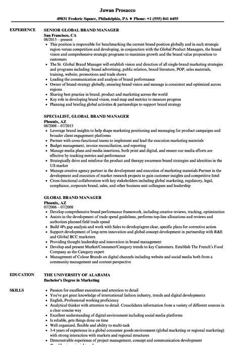Global Brand Manager Resume Sles Velvet Jobs Brand Manager Resume Template